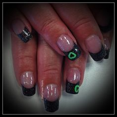 Young Nails Blockparty black glitter with a neon green heart