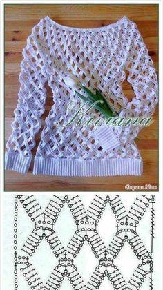 Вязание крючком Crochet Case, Crochet Motifs, Crochet Shirt, Crochet Cardigan, Crochet Stitches, Crochet Diagram, Knit Crochet, Crochet Patterns, Lace Patterns