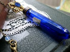 Beautiful Colbalt Blue                            Perfume Bottle Necklace