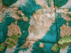 Striking Vintage Silk Fabric Peacock Feathers by RuinsCa on Etsy, $59.00
