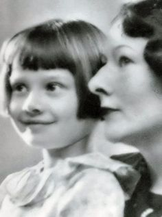 Audrey Hepburn as a child and her mother, c. 1930's.