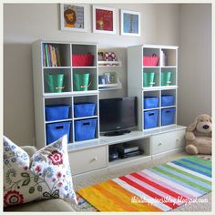 Organized and colorful kids' playroom redo at a fraction of the cost of Pottery Barn wall/storage units.  From Becky at This is Happiness (part of the Operation: Organization 2015 series at 11 Magnolia Lane)