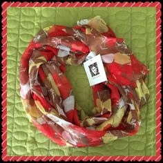 Anne Klein Spring Scarf Gorgeous spring scarf with colors that will go with just about anything! Coral, tan, yellow and white. 100% polyester                                                  No trades Anne Klein Accessories Scarves & Wraps