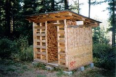 29 Cool Recycled Pallet Projects Wooden pallets can be used to construct a drying abnd firewood storage shed. Firewood Shed, Firewood Storage, Wood Storage Sheds, Storage Shed Plans, Pallet Storage, Storage Ideas, Wooden Pallet Projects, Pallet Crafts, Pallet Ideas