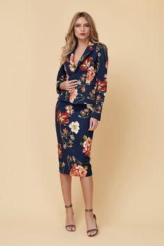 Fusta Conica Blug Floral High Neck Dress, Dresses For Work, Jeans, Floral, Casual, Fashion, Atelier, Turtleneck Dress, Moda