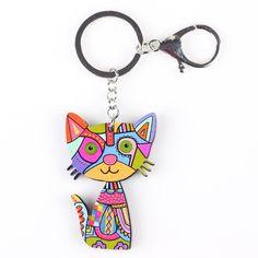 Bonsny Cat Keychain Nuovo 2016 Acrilico Modello Animale Sveglio Dei Monili di Modo Per Le Donne Accessori