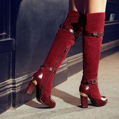 2013 Hot Buckle Suede High heeled Platform Over Knee High Boots #thigh #high #over #knee #boots www.loveitsomuch.com