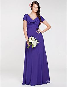 Bridesmaid Dress Floor-length Georgette Sheath/Column Cowl D... – USD $ 69.99