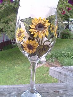 Hand painted sunflower wine glass by lorrihilldesigns on Etsy, $20.00