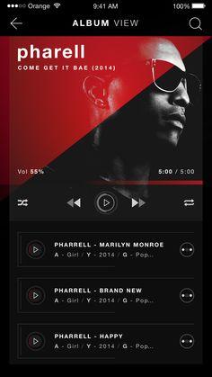 Rubrum music player ios album view design
