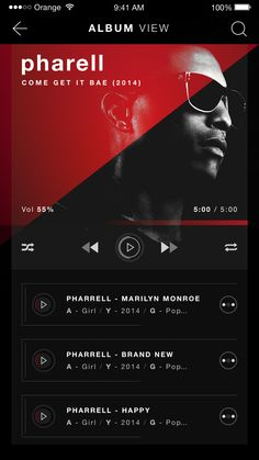 Rubrum music player ios album view design