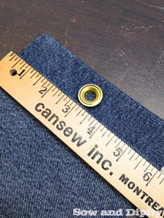 DIY Plant Pockets with Recycled Denim - use a grommet so you can hang it from a hook