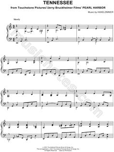 """Tennessee"" from 'Pearl Harbor' Sheet Music (Piano Solo) - Download  Print"