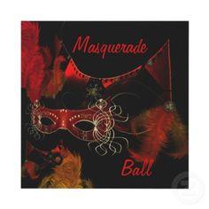 Masquerade Ball Masks Red Black Invite Party by Zizzago