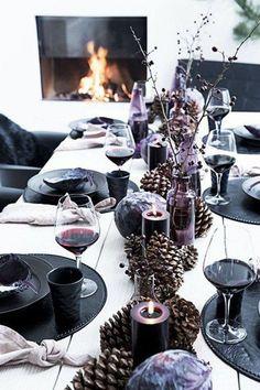 Beautiful Christmas Table Decorations, via Black Christmas, Beautiful Christmas, Winter Christmas, Christmas Time, Xmas, Elegant Christmas, Christmas Crafts, Merry Christmas, Christmas Table Settings
