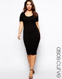 Image 1 of ASOS CURVE Midi Bodycon Dress With Short Sleeves