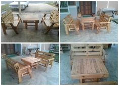 It took me almost a month to complete them. For the bench, I only used a piece of pallet wood for each bench, and I made the table from a piece of the small pallet which I get from the industry areas. Most of the pallet came from Europe. Pallet Garden Benches, Pallet Shed, Pallet Lounge, Wood Benches, Outdoor Pallet, Pallet Tables, Pallet Planters, Pallet Playhouse, Pallet Couch
