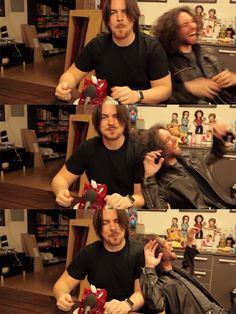 Game Grumps Arin and Dan, from Bloodborne Part 57, Dan laughing at Arin taking a bite out of the body of a 5lb gummy bear