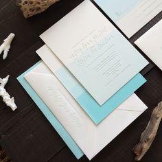 Dip-dyed blue wedding invitations