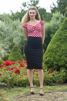 50s Hilda pencil skirt black buttons