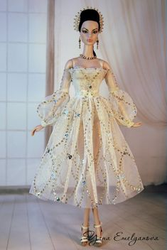 Outfit for Fashion Royalty - NU Face by Yana Emelyanova Barbie Fashion Royalty, Fashion Dolls, Barbie Fashion Designer, Barbie Gowns, Barbie Clothes, Bride Dolls, Yellow Fashion, Beautiful Outfits, Nice Dresses