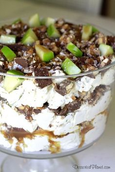 Apple Snickers Trifle. Like a caramel apple with chocolate. Great for Fall!