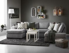 Nevada soffa med divan och schslong i tyg Rocco grey frn Mio. Love this grey  living room ...