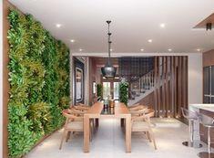 table chaises salle manger bois mur végétal-intérieur