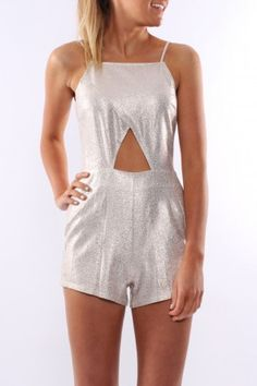 Paint It Red - Brightside Playsuit A Silvery Gold metallic with a gorgeous cut out under the bust. $75.00 SHOP: http://www.jeanjail.com.au/ladies/paint-it-red-brightside-playsuit.html