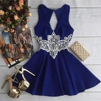 3 Color Women Elegant Lace Print Dress Sleeveless Plus Size A Line Dress Backless Elegant Lady
