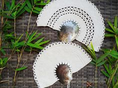 Large Grey Pearl Shell Woven Palm Fans