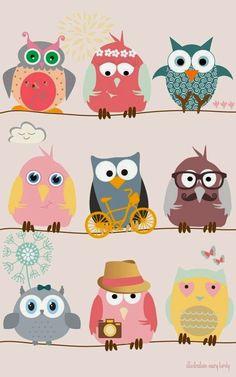 8 pics Illustration of the cartoon owls -