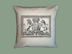 Canvas #Pillow #Cover #Vintage #Unicorn and #Lion Crest 16x16 - image in ANY COLOR #handmade #thecraftstar $20.00