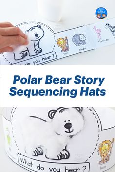 Story sequencing printable hats for the book Polar Bear, Polar Bear What Do You Hear Story Sequencing, Sequencing Activities, Animal Activities, Toddler Activities, Polar Animals, Cute Baby Animals, Wild Animals, Cute Polar Bear, Polar Bears