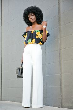 Floral Off Shoulder Blouse + White High Waist Pants