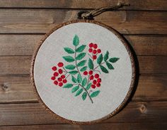 Rowanberry embroidery hoop Hand embroidered hoop Botanical