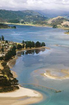 My childhood hometown. ✮ New Zealand, North Island, Coromandel, Tairua Harbour, view from Paku Summit New Zealand Beach, New Zealand North, New Zealand Travel, Places Around The World, Travel Around The World, Around The Worlds, Places To Travel, Places To See, Travel Destinations