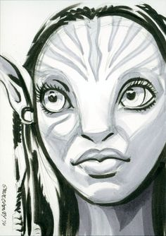 Neytiri (Avatar) Sketchcard Artwork by Artist Steve Oatney