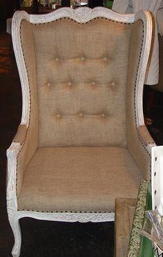 burlap chair with nailhead