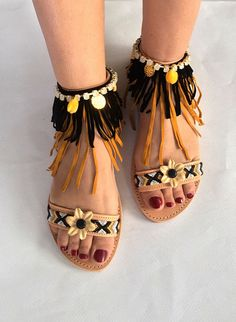 Leather Strappy Sandals  Black Orchid Pompom