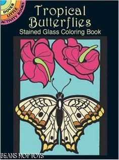 Tropical Butterflies Stained Glass Little Adult Coloring Book In Hand FREE SHIP