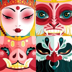 Digital Illustration, Graphic Illustration, Art Asiatique, Affinity Designer, Graffiti, Illustrations And Posters, Chinese Art, Japanese Art, Asian Art
