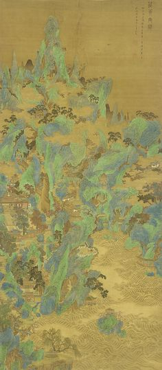 The Palaces and Gate Towers of Penglai - 1683  Zhu Dan , (Chinese, mid- to late 17th century) - Qing dynasty  Ink, color, and gold on silk