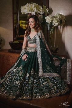 The colour of your lehenga makes your bridal look unique! Explore our list of Indian bridal lehenga colours inspirations that you'd surely fall in love with! Indian Bridal Outfits, Indian Bridal Lehenga, Desi Wedding Dresses, Bridal Dresses, Wedding Lehnga, Lehnga Dress, Lehenga Choli, Dress Indian Style, Indian Dresses
