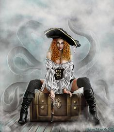 Redhead woman pirate art for RPG. Pirate Art, Pirate Queen, Pirate Woman, Pirate Life, Pirate Theme, Lady Pirate, 3d Fantasy, Fantasy Women, Fantasy Girl