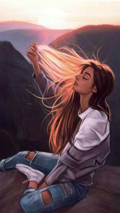 Digital Art Girl, Arte Digital Fantasy, Abstract Digital Art, Cute Girl Drawing, Cartoon Girl Drawing, Girl Cartoon, Beautiful Girl Drawing, Couple Cartoon, Cartoon Drawings