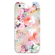 Romantic Pink Teal Pastel Chic Floral Pattern by Girly Trend - iPhone... (130 ILS) ❤ liked on Polyvore featuring accessories, tech accessories, iphone case, teal iphone case, iphone cases, pink iphone case, apple iphone case and iphone cover case