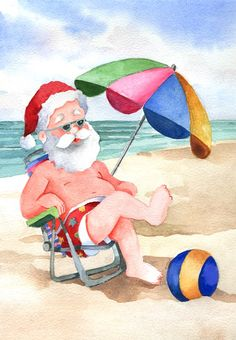 Santa with Beach Umbrella, Christmas in July original watercolor painting Aussie Christmas, Australian Christmas, Summer Christmas, Tropical Christmas, Coastal Christmas, Christmas In July, Christmas Pictures, Christmas Art, Vintage Christmas