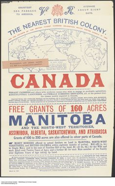 Advertisement for Land Grants in Manitoba, the Northwest Territories, Alberta and Saskatchewan, March 1892 Canadian Identity, All About Canada, Short Passage, Canadian Things, Immigration Canada, Free Grants, Canadian Travel, Canada Eh, Northwest Territories