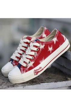 I love these!!   This canvas shoes crafted in fabric and rubber, featuring low top, color block of the vamp, white stars printing, lace-up fastening design, low cut with rubber sole.